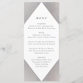 Geometric Grey Gold Gatsby Tall Wedding Menu