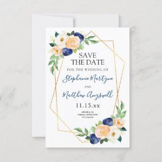Geometric Navy Blue Peach Coral Floral Wedding Save The Date