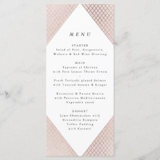 Geometric Pink Gold Gatsby Tall Wedding Menu