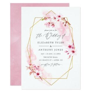 Geometric Pink Spring Cherry Blossom Wedding Invitations