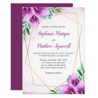 Geometric Purple Calla Lily Floral Wedding Invitations