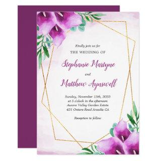 Geometric Purple Calla Lily Watercolor Wedding Invitations
