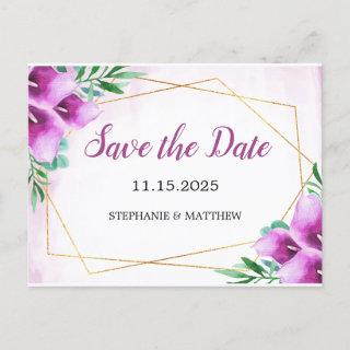 Geometric Purple Calla Lily Wedding Save The Date Announcement Postcard