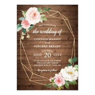 Geometric Rustic Romance Blush Floral Wedding Invitation