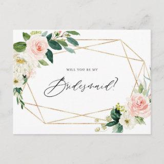 Geometric Spring Blooms Will You Be My Bridesmaid Invitations Postcard