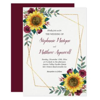 Geometric Sunflower Burgundy Roses Floral Wedding Invitation