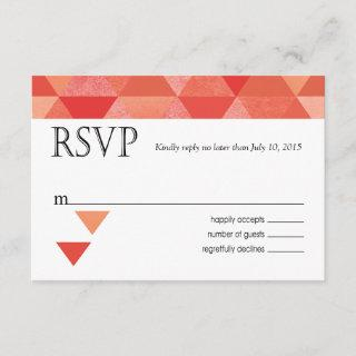 Geometric Triangles RSVP Response Card   coral