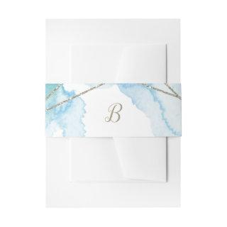 Geometric Watercolor Monogram Wedding Invitations Belly Band