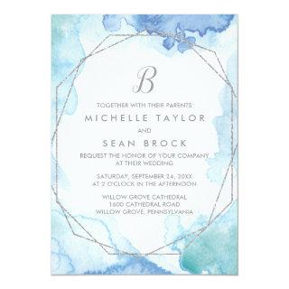 Geometric Watercolor Silver Monogram Wedding Invitations