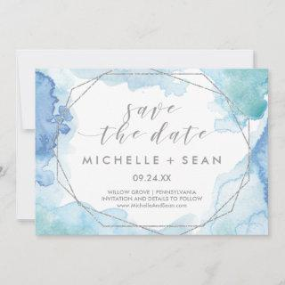 Geometric Watercolor Silver Save the Date Card
