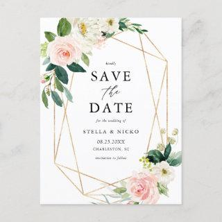 Geometric Watercolor Spring Blooms Save The Date Announcement Postcard