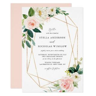 Geometric Watercolor Spring Blooms Wedding Invitations