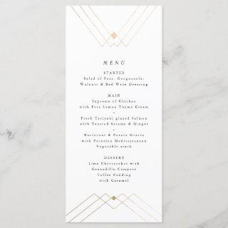 Geometric White Gold Gatsby Tall 2 Wedding Menu