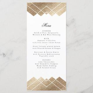 Geometric White Gold Gatsby Tall Wedding Menu