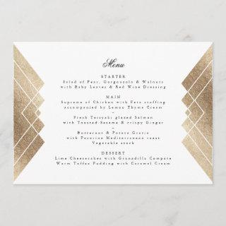 Geometric White Gold Gatsby Wedding Menu