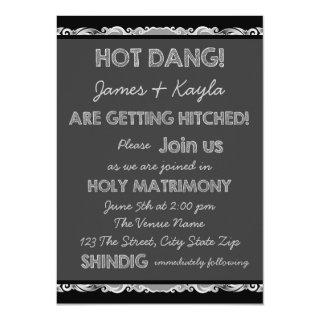Getting Hitched Rustic Chalkboard Country Wedding Invitations