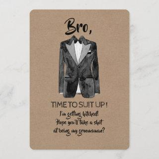 Getting Hitched - Suit Up - Funny Groomsman Invite