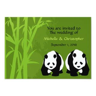 Giant Panda Bears and Green Bamboo Forest Wedding Invitation