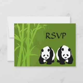 Giant Panda Bears and Green Bamboo Forest Wedding RSVP Card