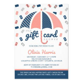 Gift Card Bridal Shower Invitation, Navy, Coral