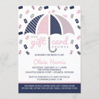 Gift Card Bridal Shower Invitation, Navy, Pink