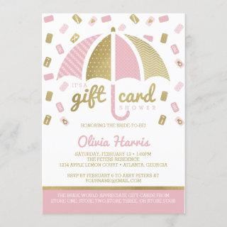 Gift Card Bridal Shower Invite, Pink, Faux Gold