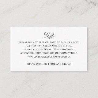 Gift Registry Honeymoon Fund Wedding Monogram Enclosure Card