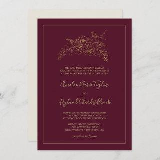 Gilded Floral | Burgundy and Gold Formal Wedding Invitations
