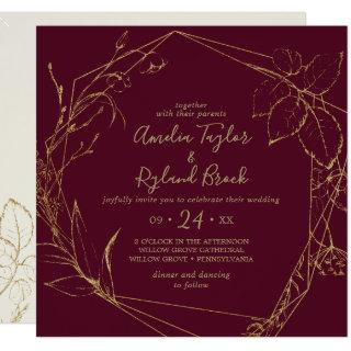 Gilded Floral | Burgundy & Gold All In One Wedding Invitation