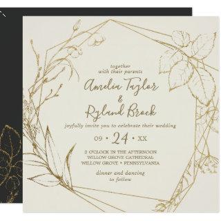 Gilded Floral | Cream and Gold All In One Wedding Invitations