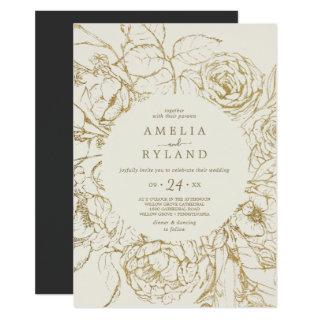 Gilded Floral | Cream and Gold Casual Wedding Invitations