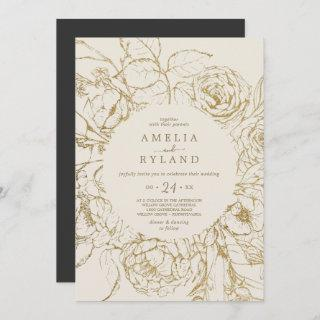 Gilded Floral | Cream and Gold Casual Wedding Invitation