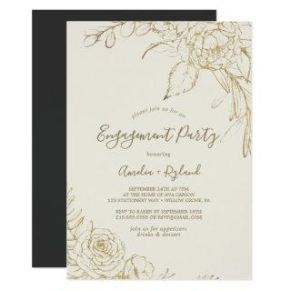 Gilded Floral   Cream and Gold Engagement Party Invitation