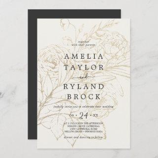 Gilded Floral | Cream and Gold Faded Wedding Invitation