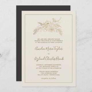 Gilded Floral | Cream and Gold Formal Wedding Invitations