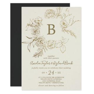 Gilded Floral | Cream and Gold Monogram Wedding Invitation
