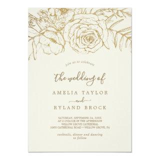 Gilded Floral | Cream and Gold The Wedding Of Invitation