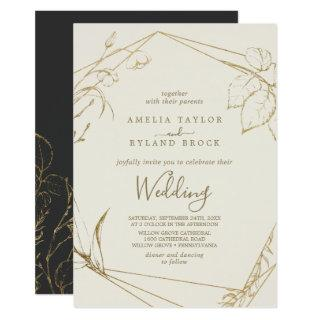 Gilded Floral | Cream and Gold Wedding Invitation