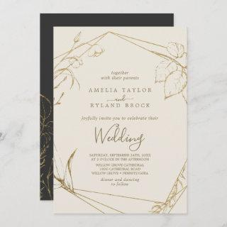 Gilded Floral | Cream and Gold Wedding Invitations