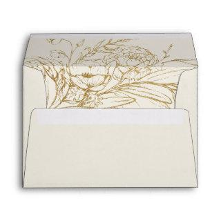 Gilded Floral | Cream and Gold Wedding Invitations Envelope