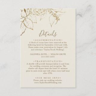 Gilded Floral Cream & Gold Details Enclosure Card