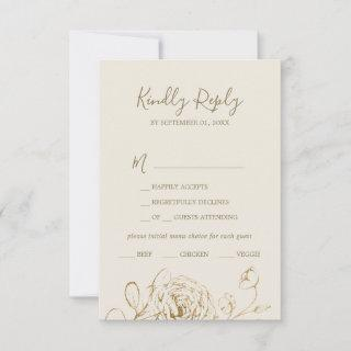 Gilded Floral | Cream & Gold Menu Choice RSVP Card