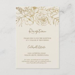 Gilded Floral   Cream & Gold Reception Insert Card