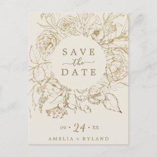 Gilded Floral Cream & Gold Save the Date Postcard