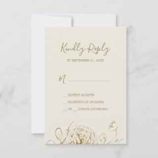 Gilded Floral   Cream Gold Simple RSVP Card
