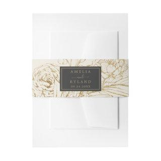 Gilded Floral Cream Wedding Invitations Belly Band
