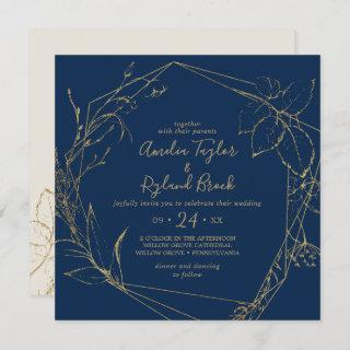 Gilded Floral | Navy and Gold All In One Wedding Invitations