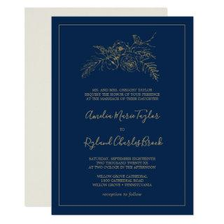 Gilded Floral | Navy Blue and Gold Formal Wedding Invitation