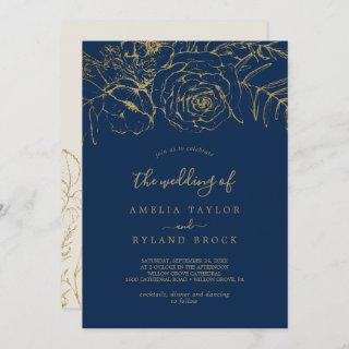 Gilded Floral | Navy Blue and Gold The Wedding Of Invitation
