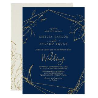 Gilded Floral | Navy Blue and Gold Wedding Invitations